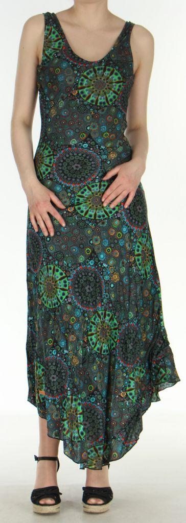 Robe d'été longue imprimée sans manches Noire Sarita 272406