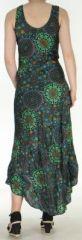 Robe d'été longue imprimée sans manches Noire Sarita 272407