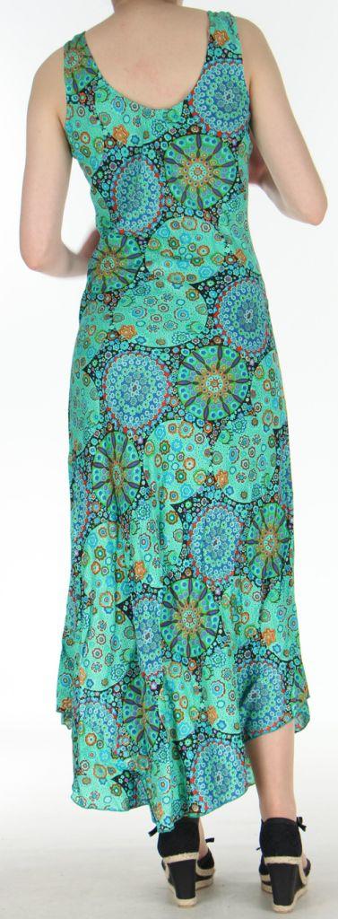 Robe d'été longue imprimée sans manches Verte Sarita 272411