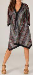 Robe d'été manches 3/4 Asymétrique type Kimono Montijo Noire et Multi 280414