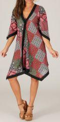 Robe d'été manches 3/4 Asymétrique type Kimono Montijo Noire et Rouge 280413
