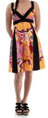 Robe d'été mi-longue col en V Ethnique et Imprimée Evora 280332
