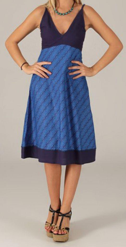 robe d ete mi longue ethnique et originale sylvaine bleu vif. Black Bedroom Furniture Sets. Home Design Ideas