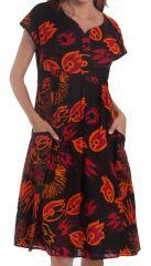 Robe d'été mi-longue Imprimée et Colorée Bétina Noire 281634