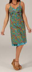 Robe d'été mi-longue Turquoise Ethnique et Originale Lagos 280341