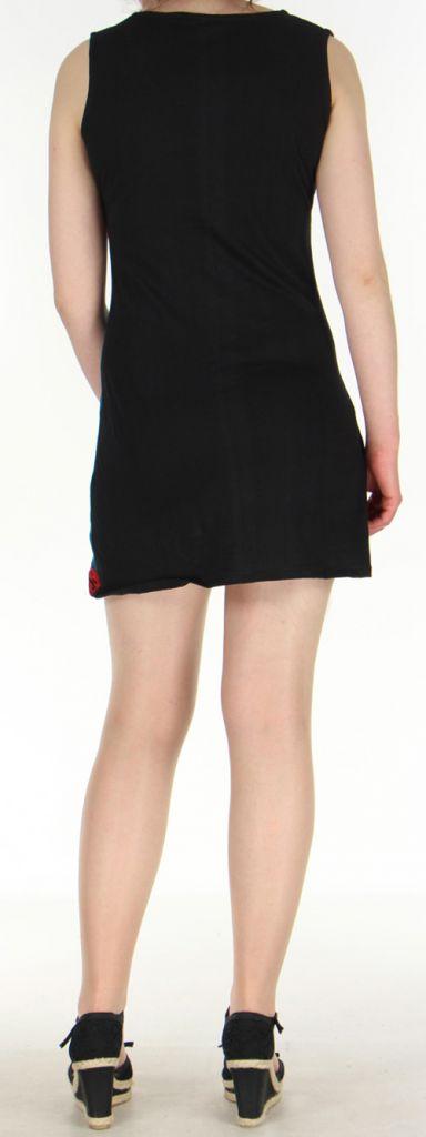 Robe d'été mode ethnique col V et sans manches Bleue col rouge Tulipa 272946