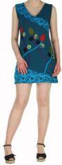 Robe d'été mode ethnique col V et sans manches Bleue n1 Tulipa 272947