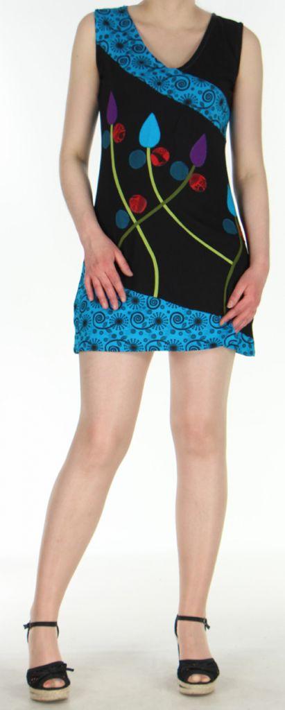 Robe d'été mode ethnique col V et sans manches Noire N2 Tulipa 272949