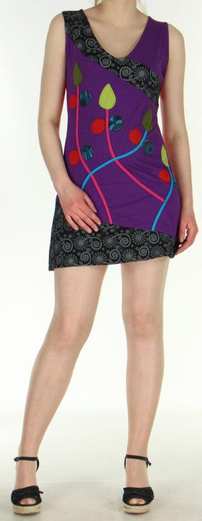 Robe d'été mode ethnique col V et sans manches Violette Tulipa 272943