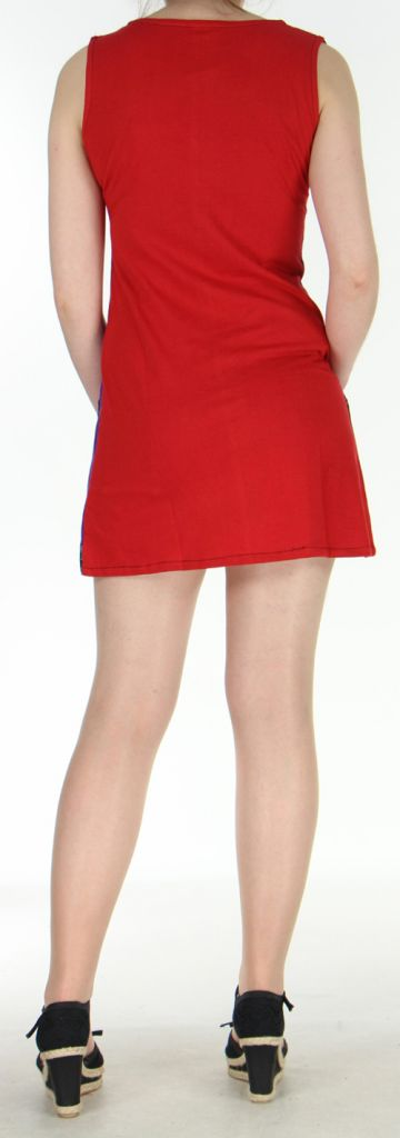 Robe d'été mode ethnique col V et sans manches Violette Tulipa 272944