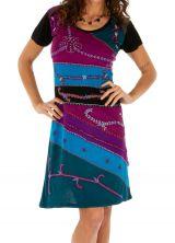 Robe d'été noire et colorée à manches courtes Awasa 314230