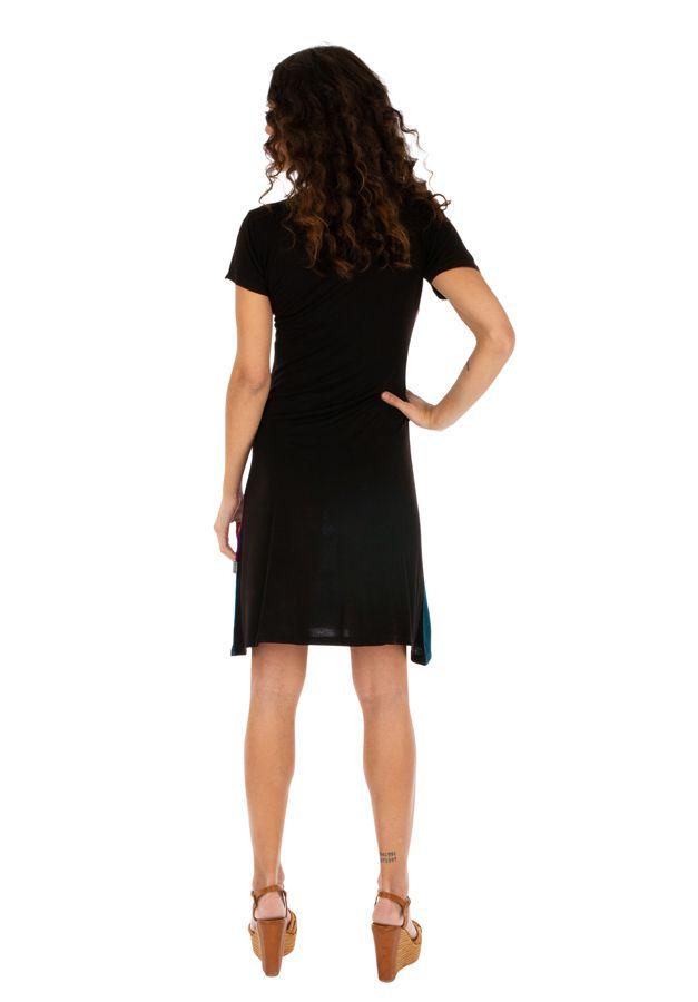 Robe d'été noire et colorée à manches courtes Awasa 314232
