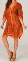 Robe d'été Orange à manches 3/4 Asymétrique type Kimono Montijo 280415