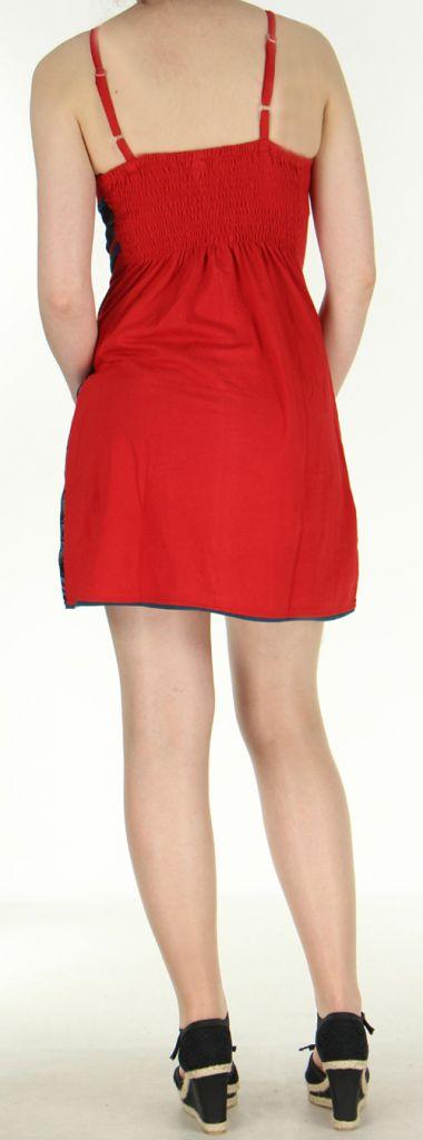 robe d ete plage courte du nepal a fines bretelles reglables rouge wema. Black Bedroom Furniture Sets. Home Design Ideas