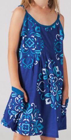 Robe d'été pour fillette Ethnique et Gaie Malaba Bleue 277429