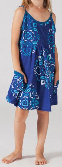 Robe d'été pour fillette Ethnique et Gaie Malaba Bleue 277430