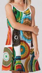 Robe d'été pour fillette Ethnique Malaba Blanche à motifs 277431