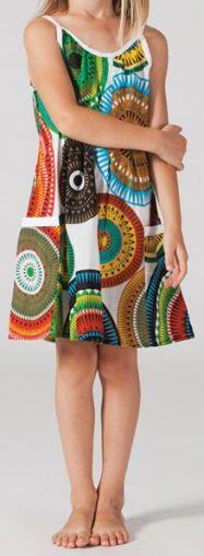 Robe d'été pour fillette Ethnique Malaba Blanche à motifs 277432