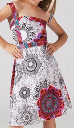 Robe d'été pour Fillette Originale et Ethnique Guady Blanche 277334