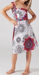 Robe d'été pour Fillette Originale et Ethnique Guady Blanche 277335