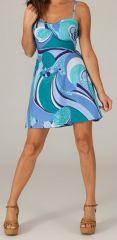 Robe d'été très Féminine et Originale Salomé Bleue 279427