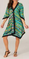 Robe d'été Verte manches 3/4 Asymétrique type Kimono Montijo 280417