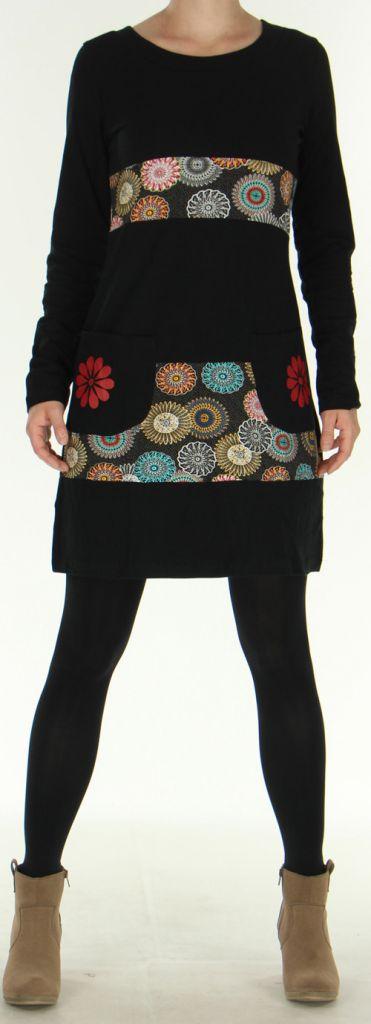 Robe d'hiver à manches longues Ethnique et Colorée Noire Natalya 275949