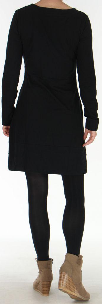 Robe d'hiver à manches longues Ethnique et Colorée Noire Natalya 275950