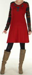 Robe d'hiver à manches longues Ethnique et Originale Salayine Rouge 276057