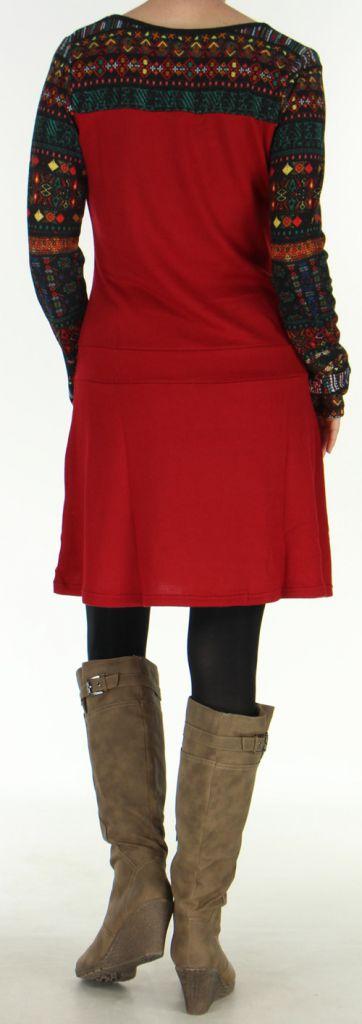 Robe d'hiver à manches longues Ethnique et Originale Salayine Rouge 276058