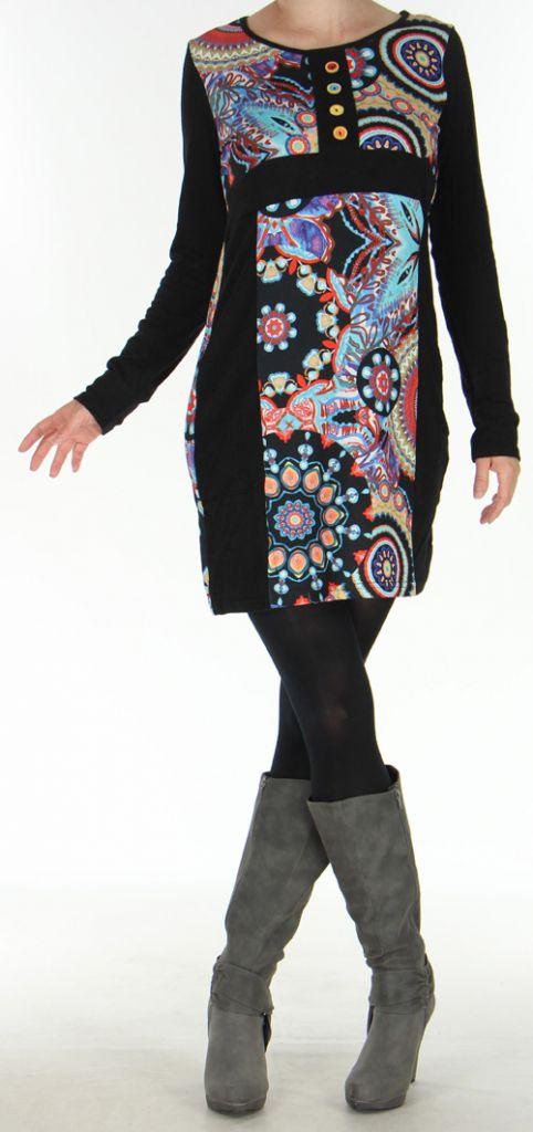 Robe d'hiver à manches longues Originale et Colorée Satine 276073