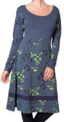 Robe d'hiver à manches longues Originale et Fleurie Tanah Grise 276223