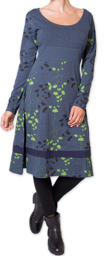 Robe d'hiver à manches longues Originale et Fleurie Tanah Grise 276224