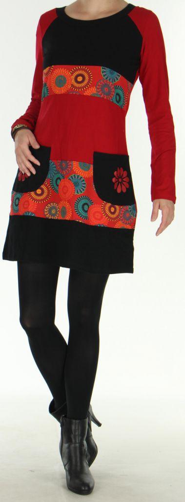 Robe d'hiver Ethnique et Colorée à manches longues Natalya Rouge 275947