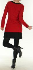 Robe d'hiver Ethnique et Colorée à manches longues Natalya Rouge 275948