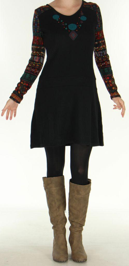 Robe d'hiver Ethnique et Originale à manches longues  Salayine Noire 276059