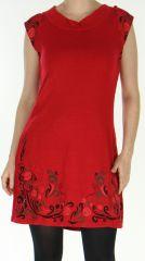 Robe d'hiver Ethnique et Originale sans manches Maryline Rouge 278737