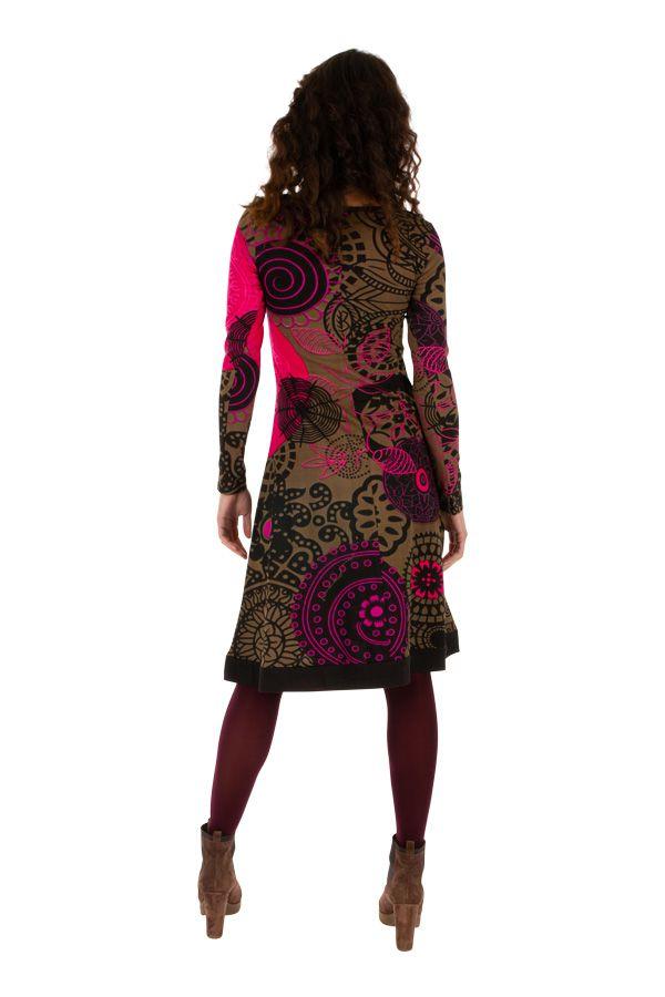 Robe d'hiver mi-longue très colorée et imprimée Janna 312651