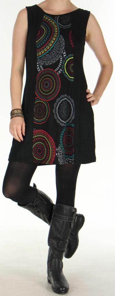 Robe d'Hiver sans manches Ethnique et Colorée Sawsen Noire 276067