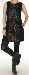 Robe d'Hiver sans manches Ethnique et Color�e Sawsen Noire 276067