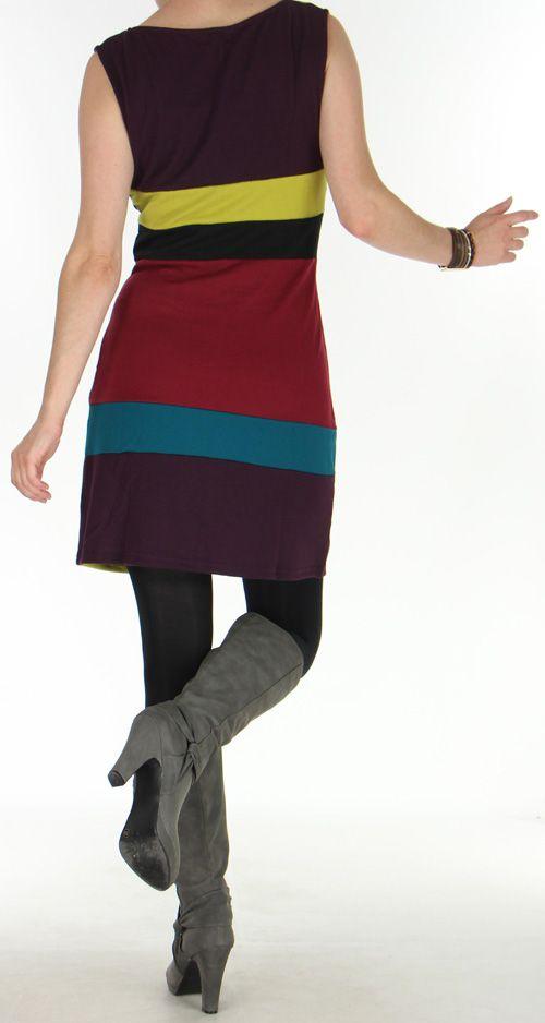 Robe d'Hiver Très Originale et Colorée sans manches  Sevane Mauve 276090