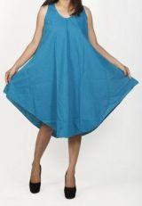 Robe de plage bleue coupe trap�ze sans manches F�lici 271217