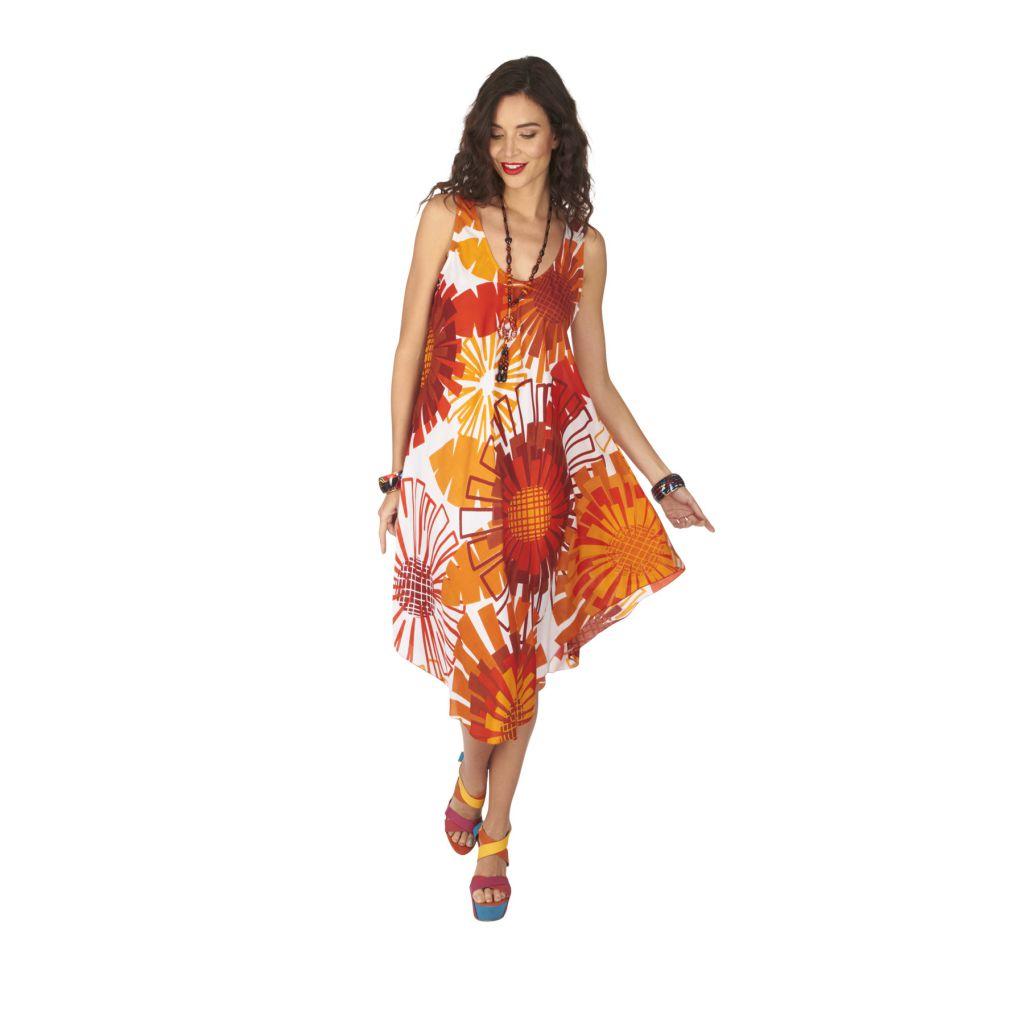 Robe de plage pas chère dans les tons orange Cymilia 317013