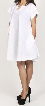 Robe de plage unie de couleur blanche en coton Maia 271377