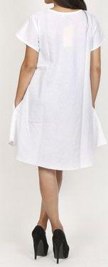 Robe de plage unie de couleur blanche en coton Maia