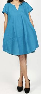Robe de plage unie de couleur bleu en coton Maia 271375