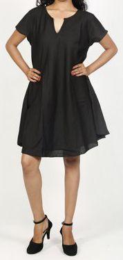 Robe de plage unie de couleur noir en coton Maia 271373