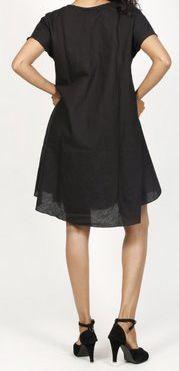 Robe de plage unie de couleur noir en coton Maia