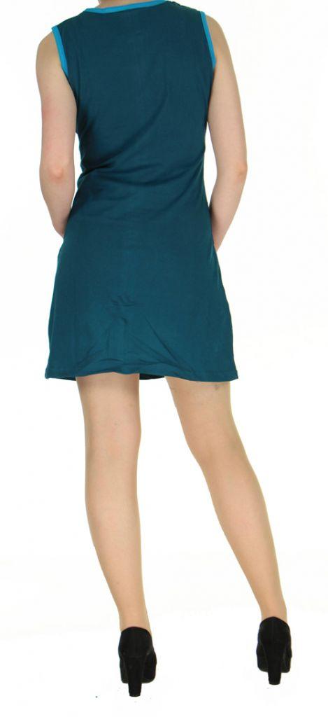 Robe en coton bleue du Népal look bohème boho chic Magy 270431