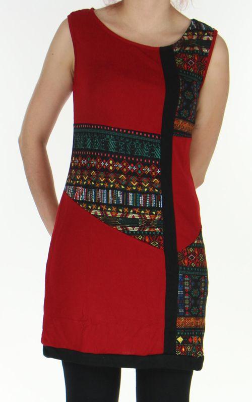 Robe en maille sans manches Originale et Colorée Tatiana Rouge 276404
